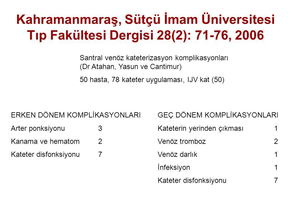 Kahramanmaraş, Sütçü İmam Üniversitesi Tıp Fakültesi Dergisi 28(2): 71-76, 2006