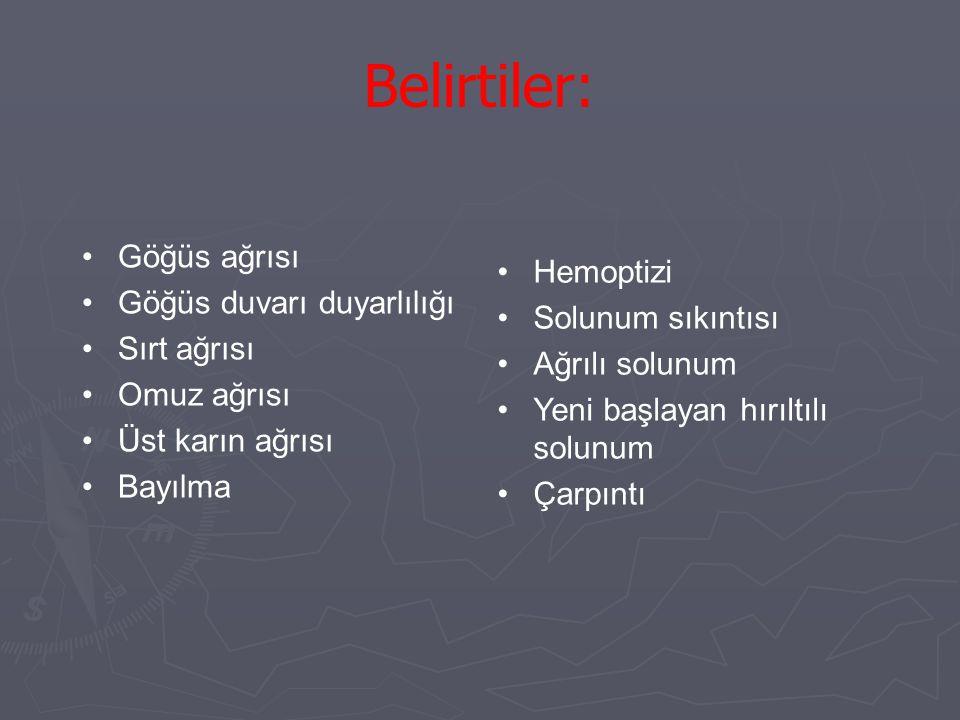 Belirtiler: Göğüs ağrısı Hemoptizi Göğüs duvarı duyarlılığı