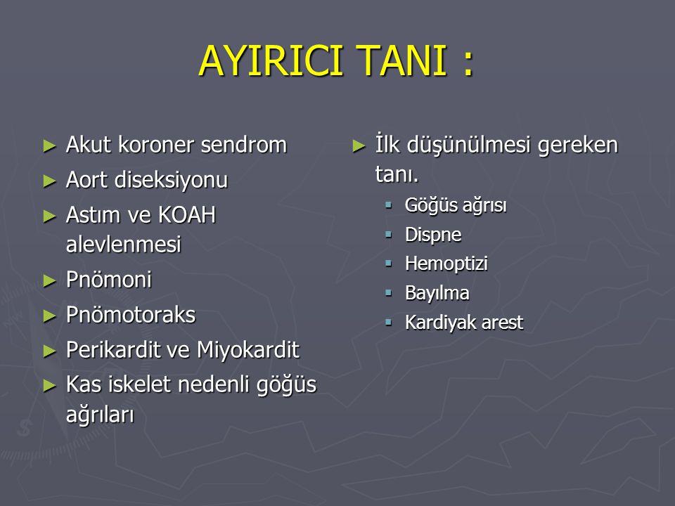 AYIRICI TANI : Akut koroner sendrom Aort diseksiyonu