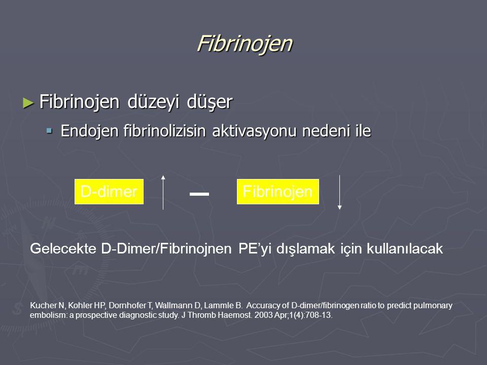 Fibrinojen Fibrinojen düzeyi düşer