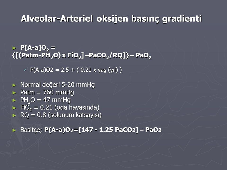 Alveolar-Arteriel oksijen basınç gradienti