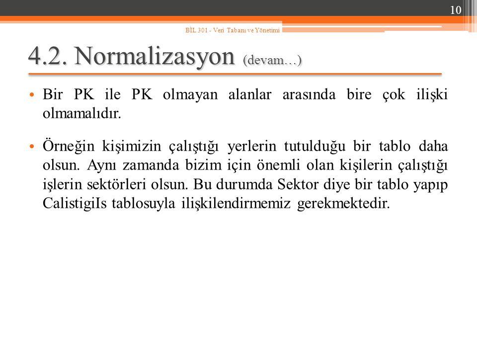 4.2. Normalizasyon (devam…)