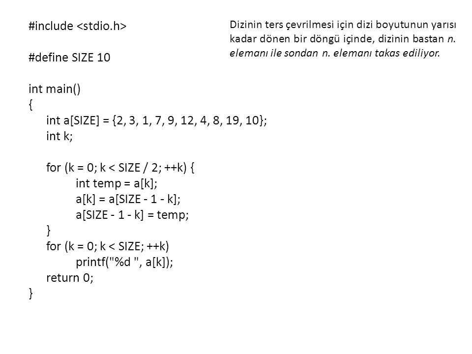 #include <stdio.h> #define SIZE 10 int main() {