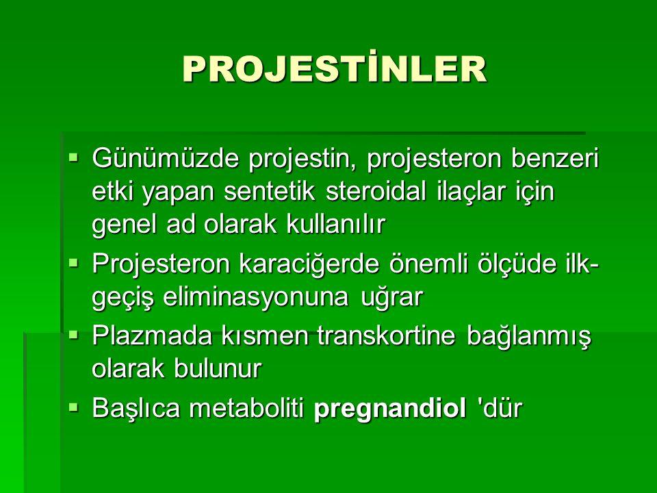 PROJESTİNLER Günümüzde projestin, projesteron benzeri etki yapan sentetik steroidal ilaçlar için genel ad olarak kullanılır.