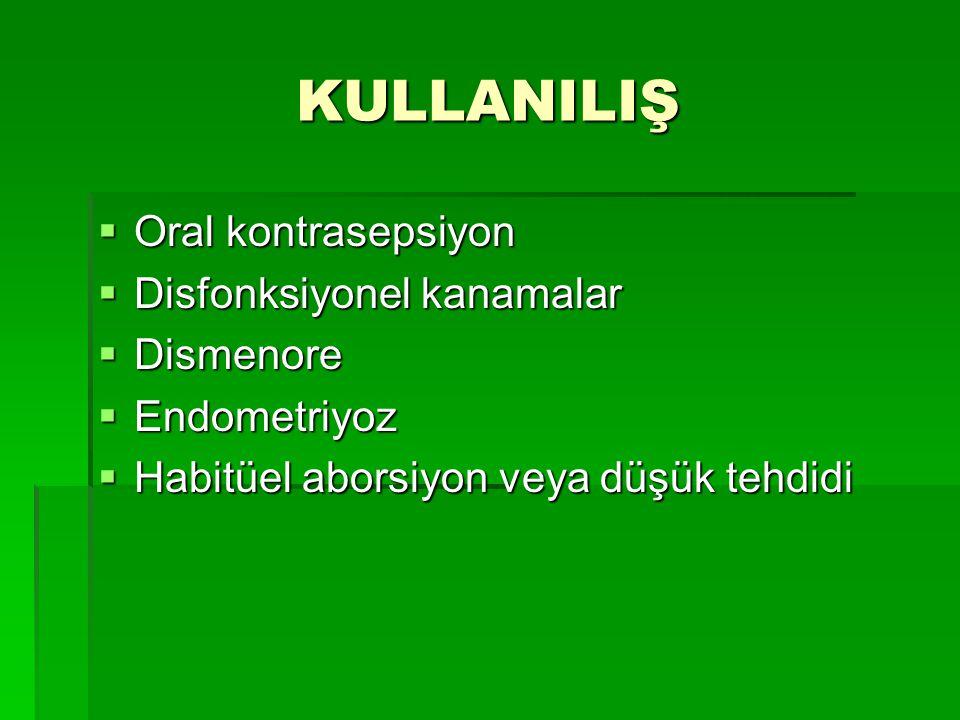 KULLANILIŞ Oral kontrasepsiyon Disfonksiyonel kanamalar Dismenore