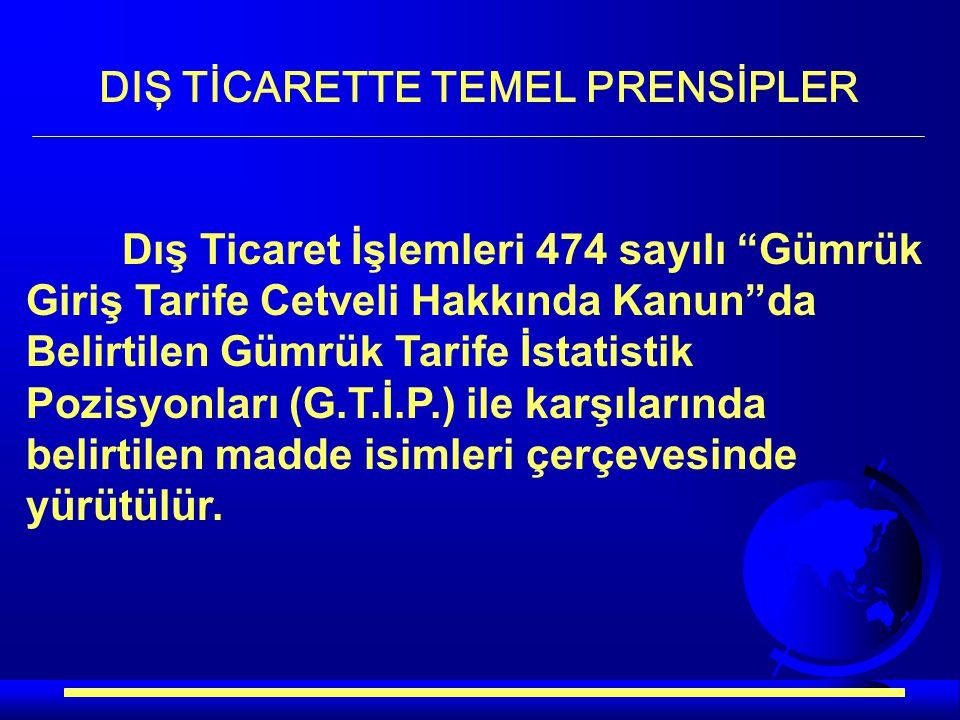 DIŞ TİCARETTE TEMEL PRENSİPLER