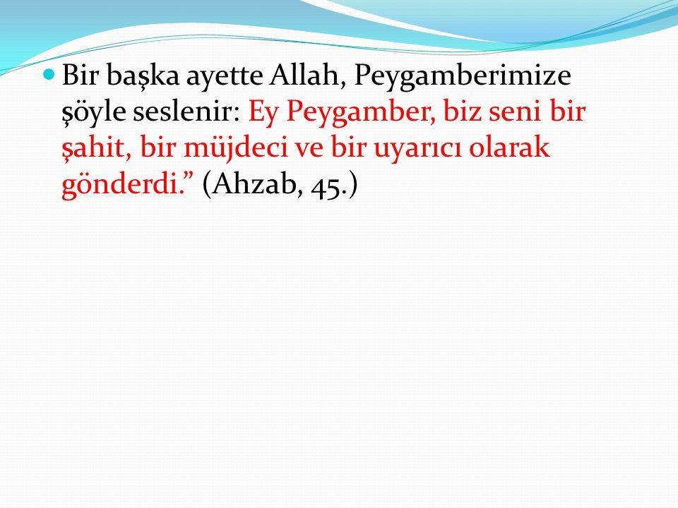 Bir başka ayette Allah, Peygamberimize şöyle seslenir: Ey Peygamber, biz seni bir şahit, bir müjdeci ve bir uyarıcı olarak gönderdi. (Ahzab, 45.)