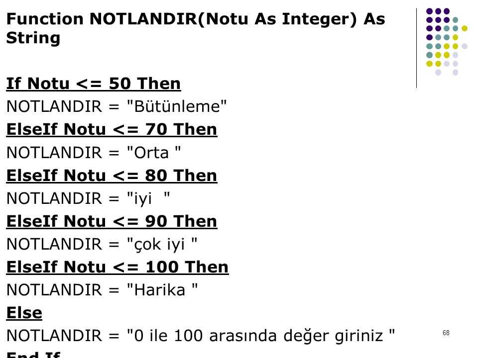 Function NOTLANDIR(Notu As Integer) As String