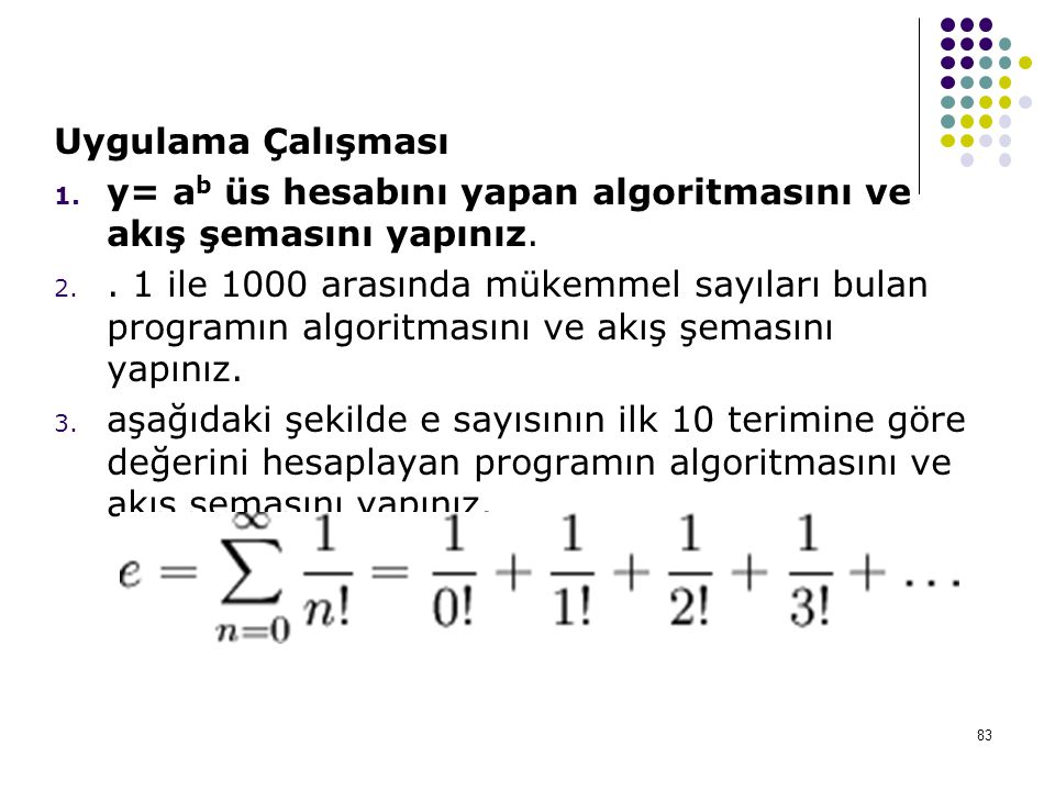 Uygulama Çalışması y= ab üs hesabını yapan algoritmasını ve akış şemasını yapınız.