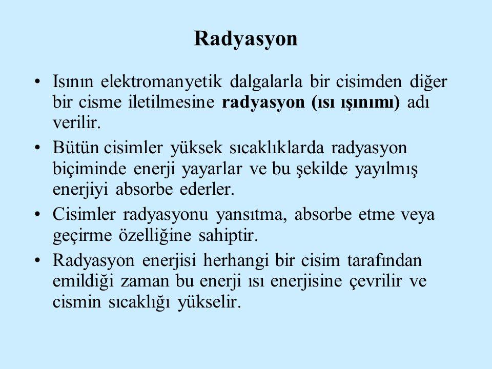 Radyasyon Isının elektromanyetik dalgalarla bir cisimden diğer bir cisme iletilmesine radyasyon (ısı ışınımı) adı verilir.