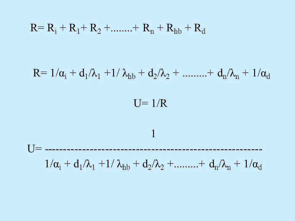 R= Ri + R1+ R2 +........+ Rn + Rhb + Rd R= 1/αi + d1/λ1 +1/ λhb + d2/λ2 + .........+ dn/λn + 1/αd. U= 1/R.