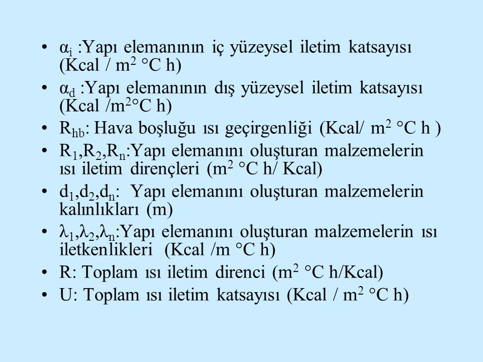 αi :Yapı elemanının iç yüzeysel iletim katsayısı (Kcal / m2 °C h)