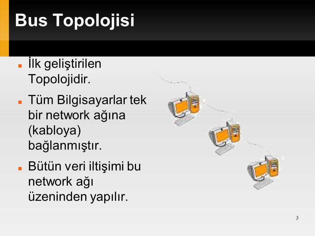 Bus Topolojisi İlk geliştirilen Topolojidir.