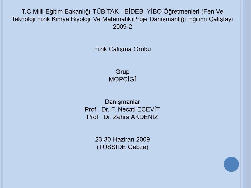 T.C.Milli Eğitim Bakanlığı-TÜBİTAK - BİDEB YİBO Öğretmenleri (Fen Ve Teknoloji,Fizik,Kimya,Biyoloji Ve Matematik)Proje Danışmanlığı Eğitimi Çalıştayı 2009-2