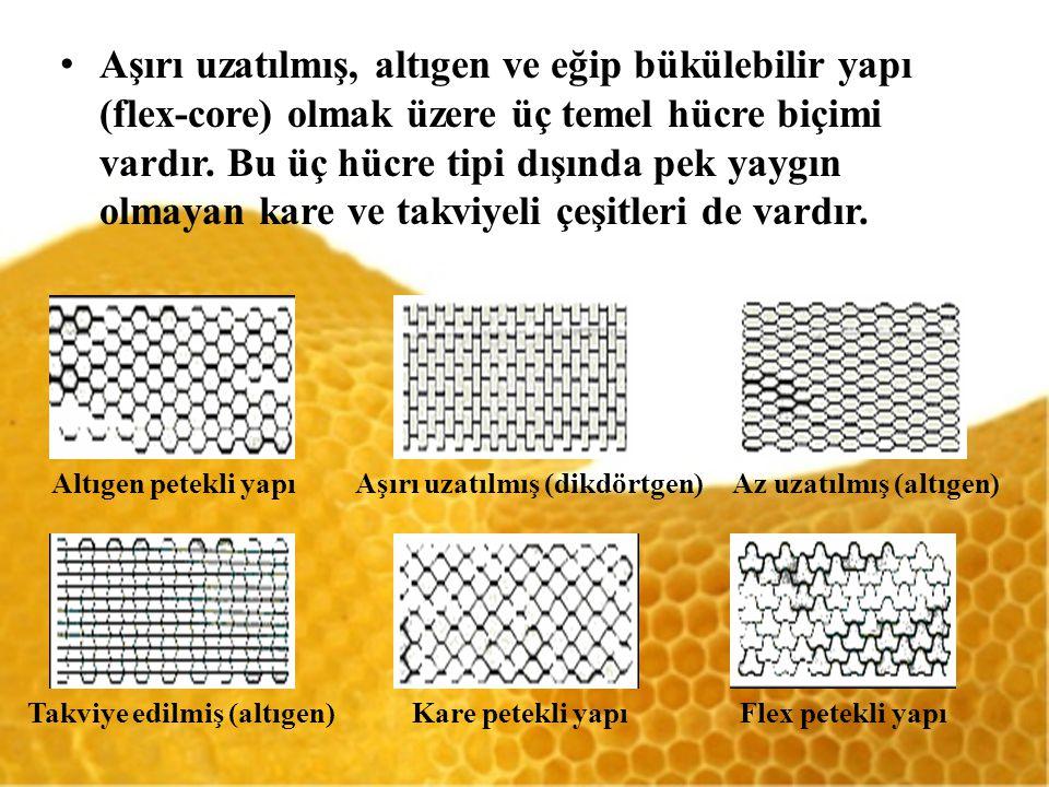 Aşırı uzatılmış, altıgen ve eğip bükülebilir yapı (flex-core) olmak üzere üç temel hücre biçimi vardır. Bu üç hücre tipi dışında pek yaygın olmayan kare ve takviyeli çeşitleri de vardır.