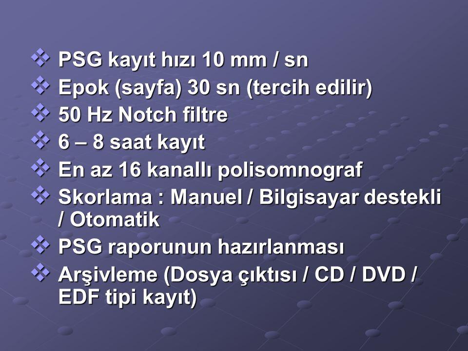 PSG kayıt hızı 10 mm / sn Epok (sayfa) 30 sn (tercih edilir) 50 Hz Notch filtre. 6 – 8 saat kayıt.