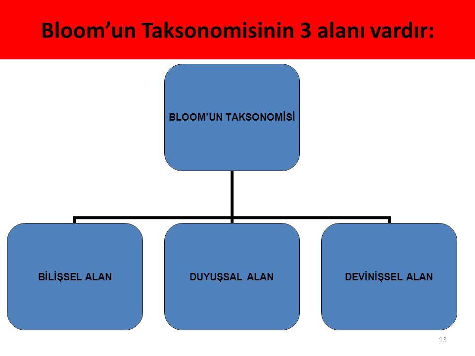 Bloom'un Taksonomisinin 3 alanı vardır: