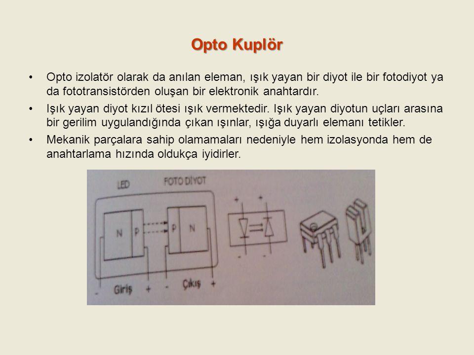 Opto Kuplör Opto izolatör olarak da anılan eleman, ışık yayan bir diyot ile bir fotodiyot ya da fototransistörden oluşan bir elektronik anahtardır.