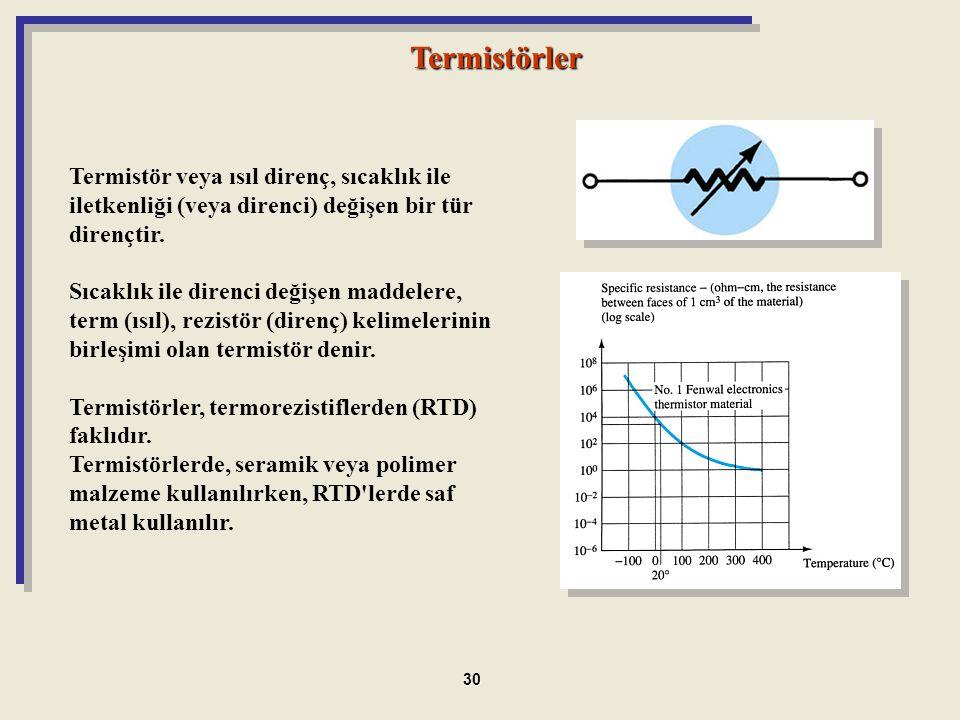 Termistörler Termistör veya ısıl direnç, sıcaklık ile iletkenliği (veya direnci) değişen bir tür dirençtir.