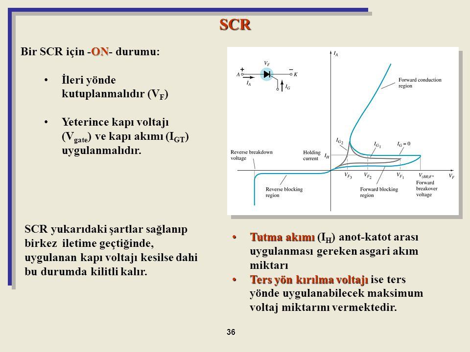 SCR Bir SCR için -ON- durumu: İleri yönde kutuplanmalıdır (VF)