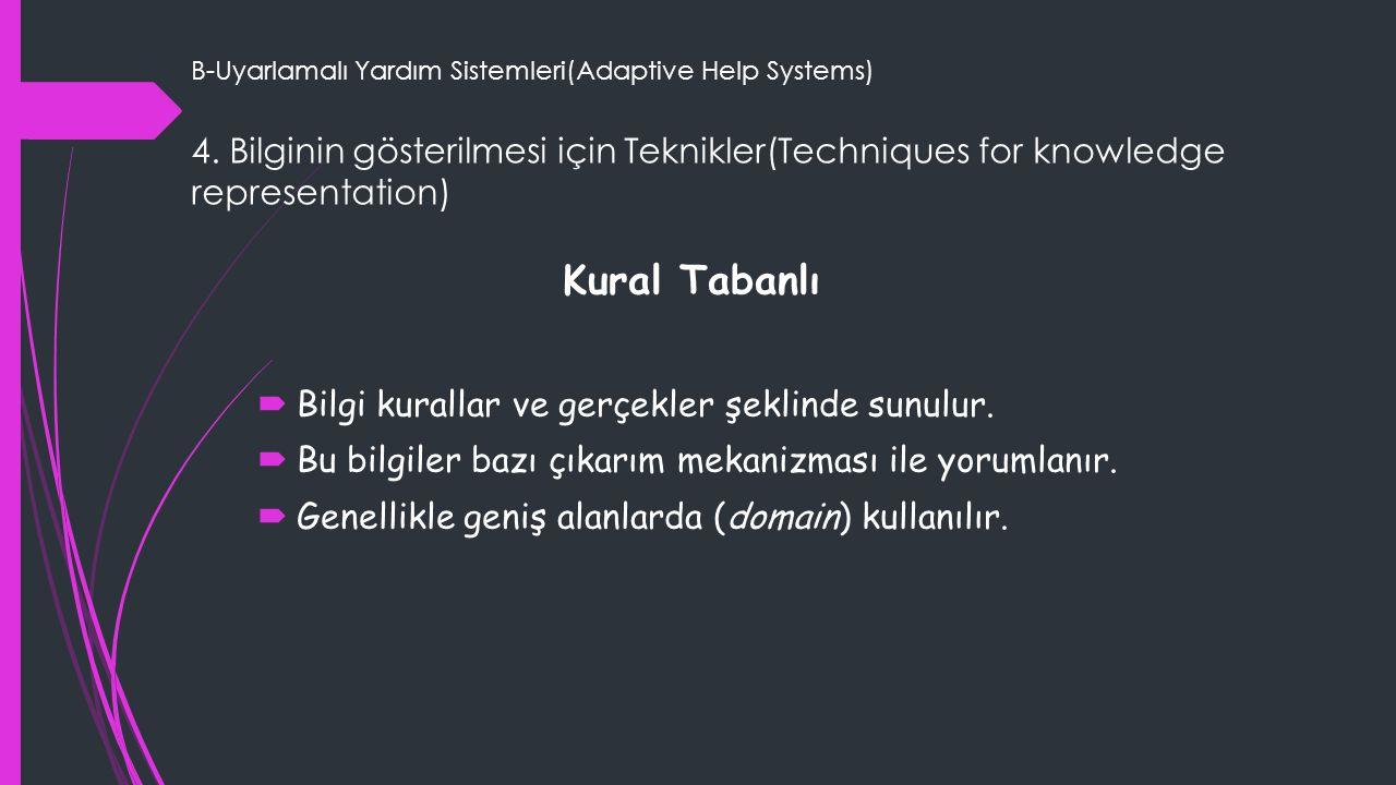 B-Uyarlamalı Yardım Sistemleri(Adaptive Help Systems)