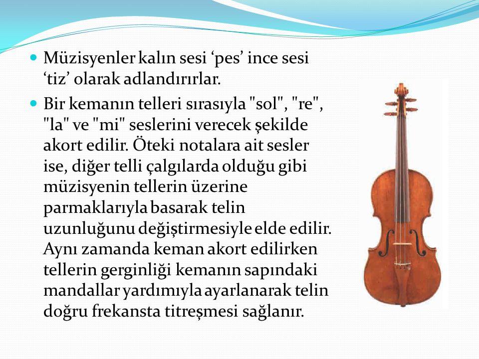 Müzisyenler kalın sesi 'pes' ince sesi 'tiz' olarak adlandırırlar.