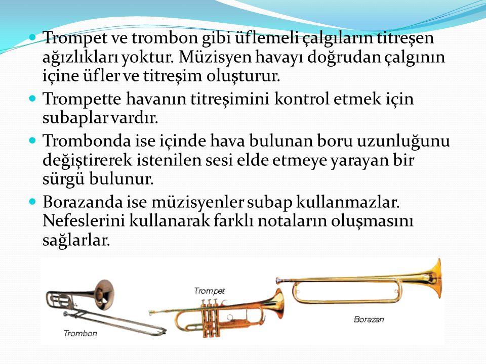 Trompet ve trombon gibi üflemeli çalgıların titreşen ağızlıkları yoktur. Müzisyen havayı doğrudan çalgının içine üfler ve titreşim oluşturur.