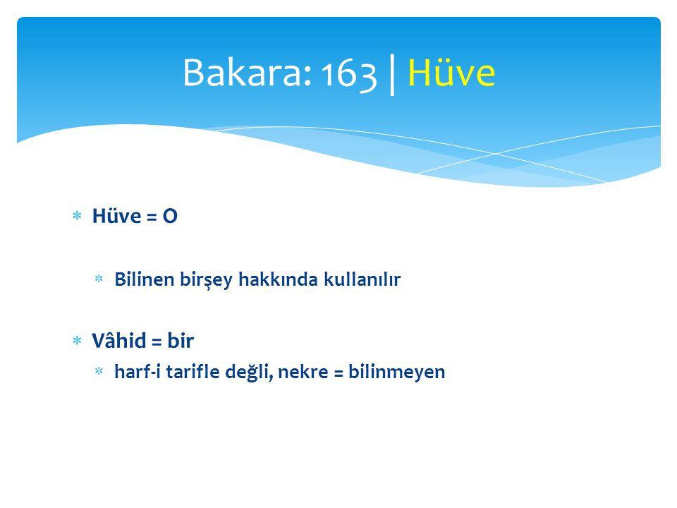 Bakara: 163 | Hüve Hüve = O Vâhid = bir