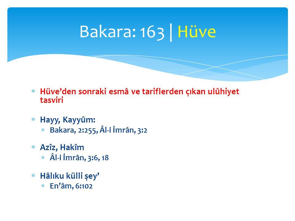 Bakara: 163 | Hüve Hüve'den sonraki esmâ ve tariflerden çıkan ulûhiyet tasviri. Hayy, Kayyûm: Bakara, 2:255, Âl-i İmrân, 3:2.