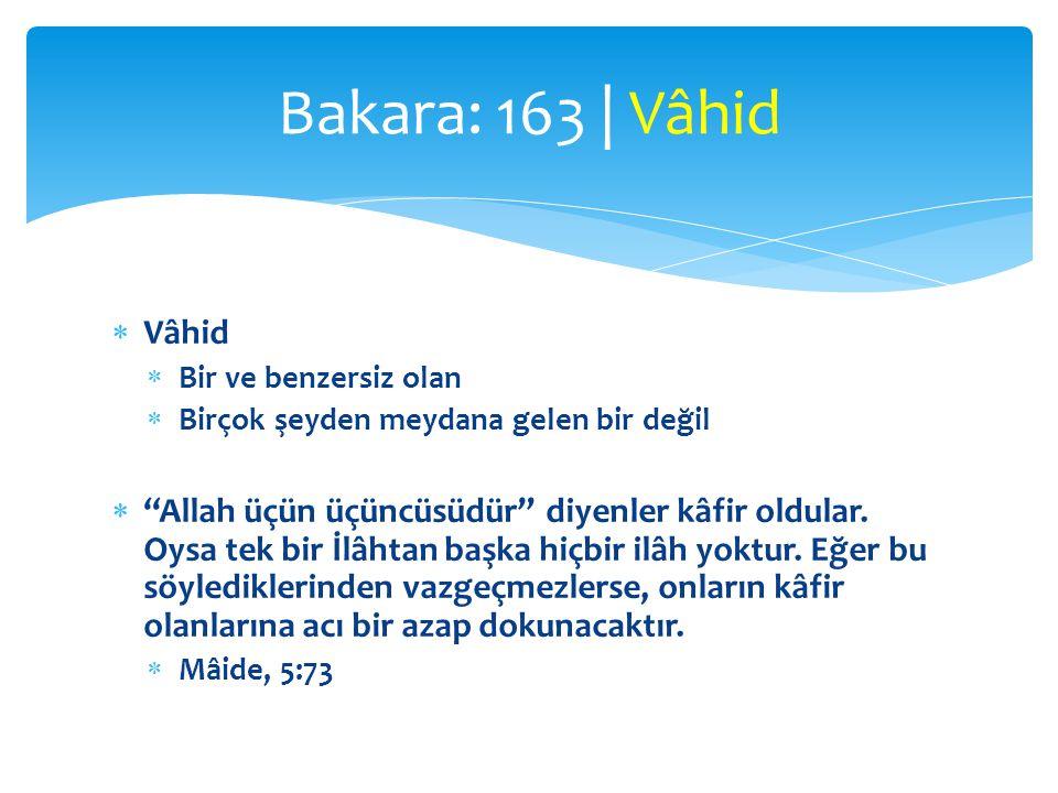 Bakara: 163 | Vâhid Vâhid. Bir ve benzersiz olan. Birçok şeyden meydana gelen bir değil.