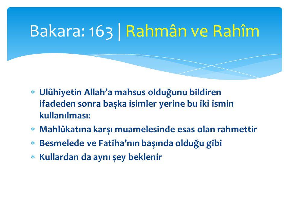 Bakara: 163 | Rahmân ve Rahîm