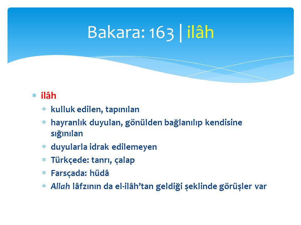 Bakara: 163 | ilâh ilâh kulluk edilen, tapınılan
