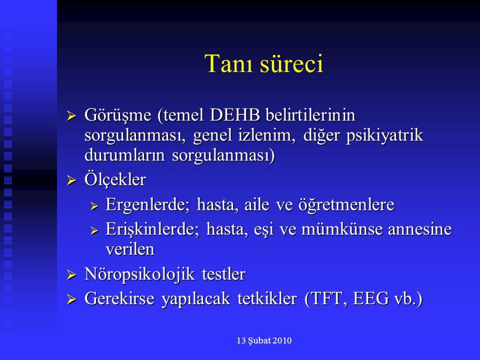 Tanı süreci Görüşme (temel DEHB belirtilerinin sorgulanması, genel izlenim, diğer psikiyatrik durumların sorgulanması)