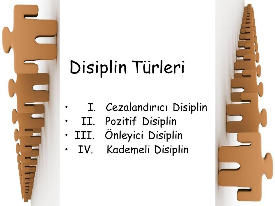 Disiplin Türleri I. Cezalandırıcı Disiplin II. Pozitif Disiplin