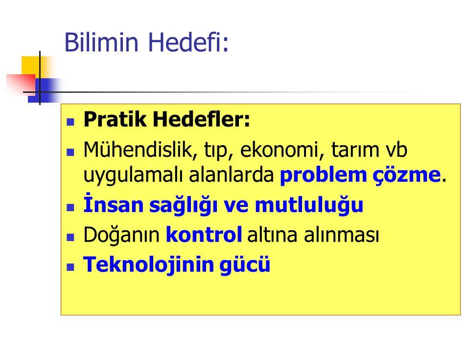 Bilimin Hedefi: Pratik Hedefler: