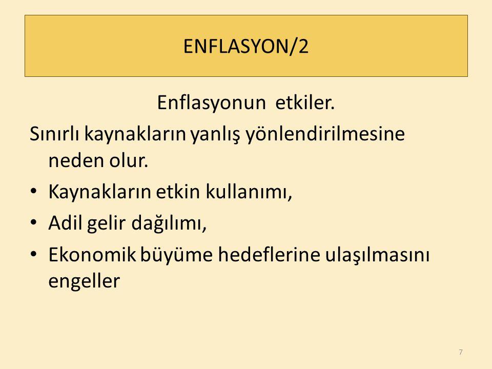 ENFLASYON/2 Enflasyonun etkiler. Sınırlı kaynakların yanlış yönlendirilmesine neden olur. Kaynakların etkin kullanımı,