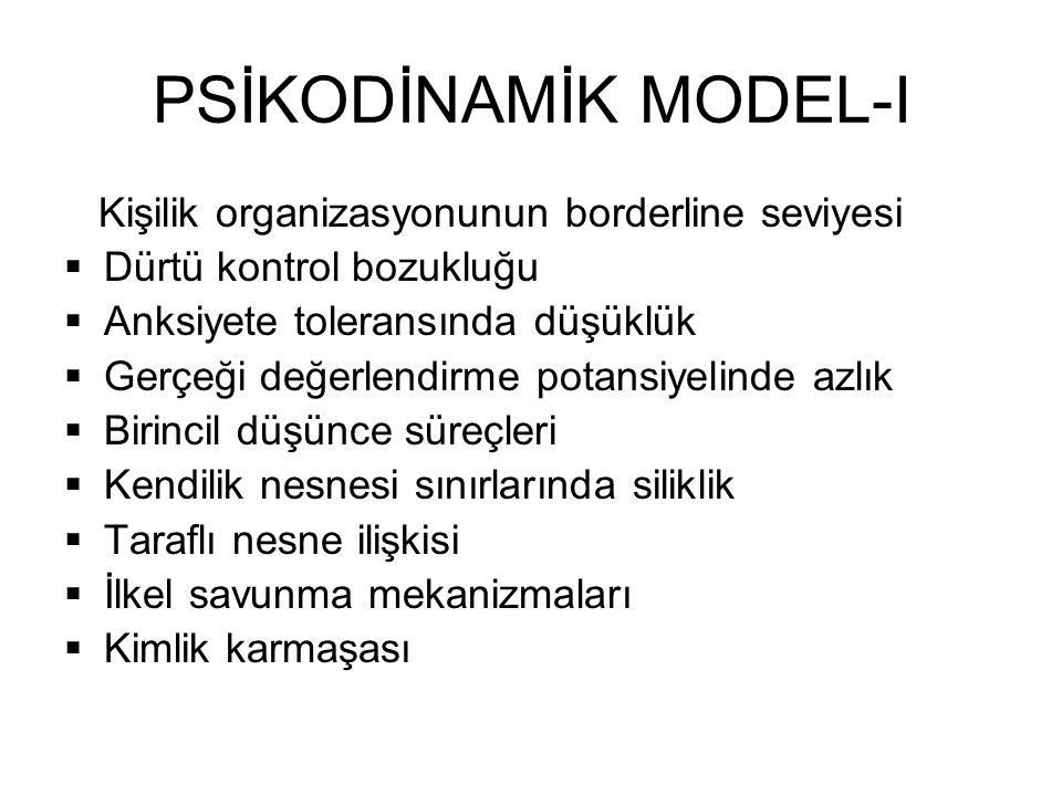 PSİKODİNAMİK MODEL-I Kişilik organizasyonunun borderline seviyesi