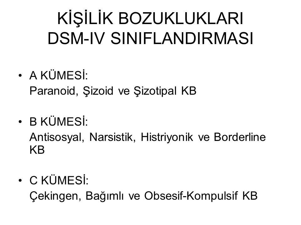 KİŞİLİK BOZUKLUKLARI DSM-IV SINIFLANDIRMASI