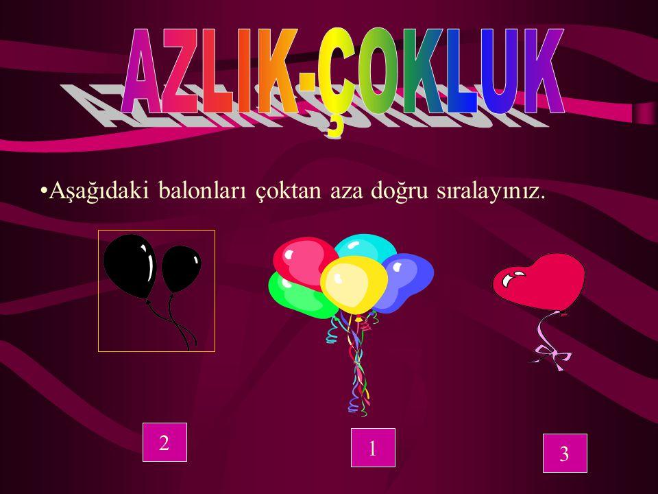 AZLIK-ÇOKLUK Aşağıdaki balonları çoktan aza doğru sıralayınız. 2 1 3