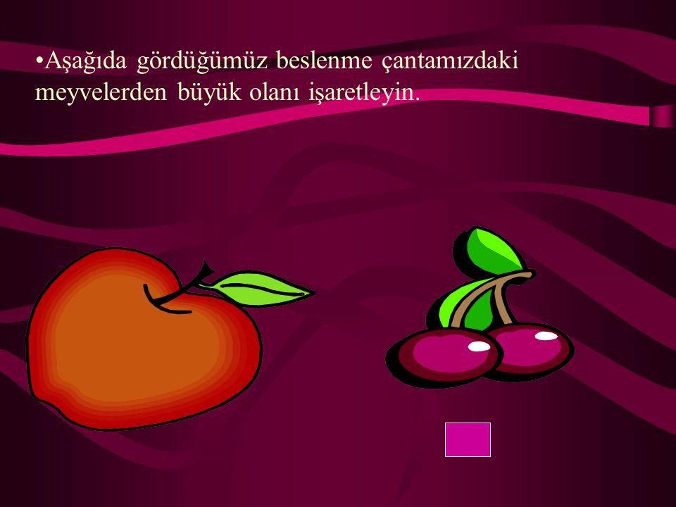 Aşağıda gördüğümüz beslenme çantamızdaki meyvelerden büyük olanı işaretleyin.