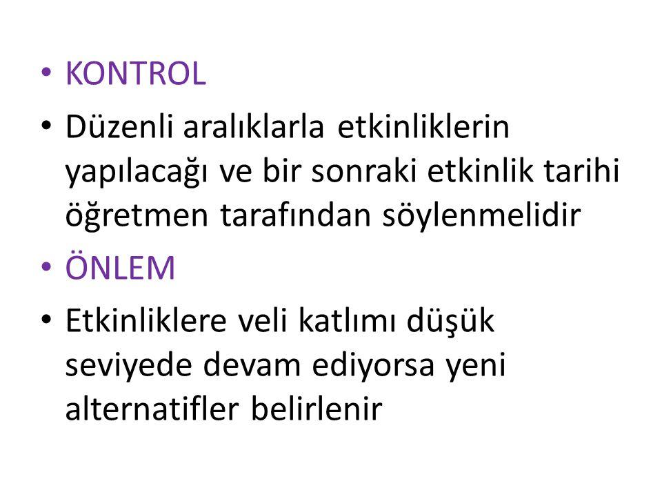 KONTROL Düzenli aralıklarla etkinliklerin yapılacağı ve bir sonraki etkinlik tarihi öğretmen tarafından söylenmelidir.
