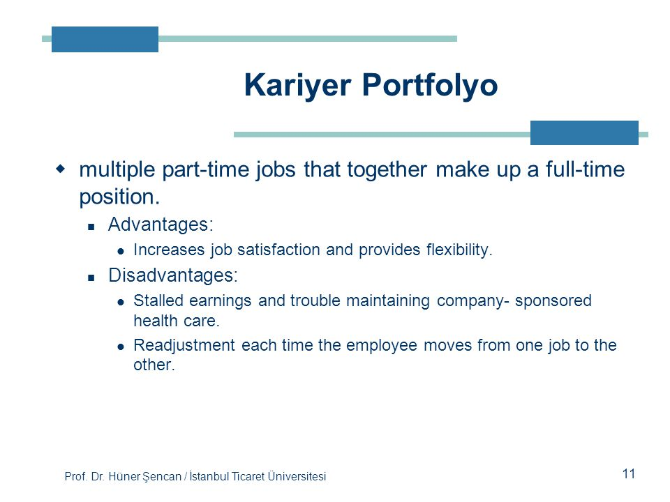 Kariyer Portfolyo multiple part-time jobs that together make up a full-time position. Advantages: