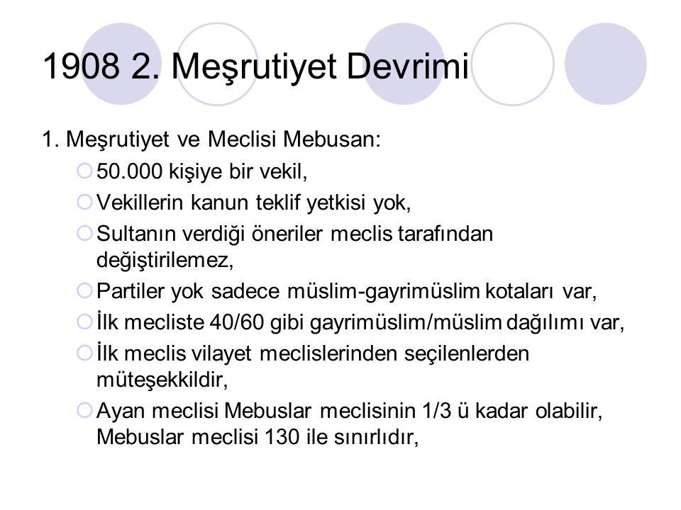 1908 2. Meşrutiyet Devrimi 1. Meşrutiyet ve Meclisi Mebusan: