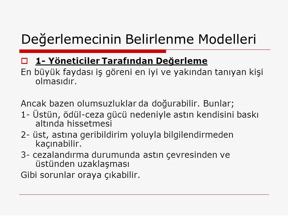 Değerlemecinin Belirlenme Modelleri