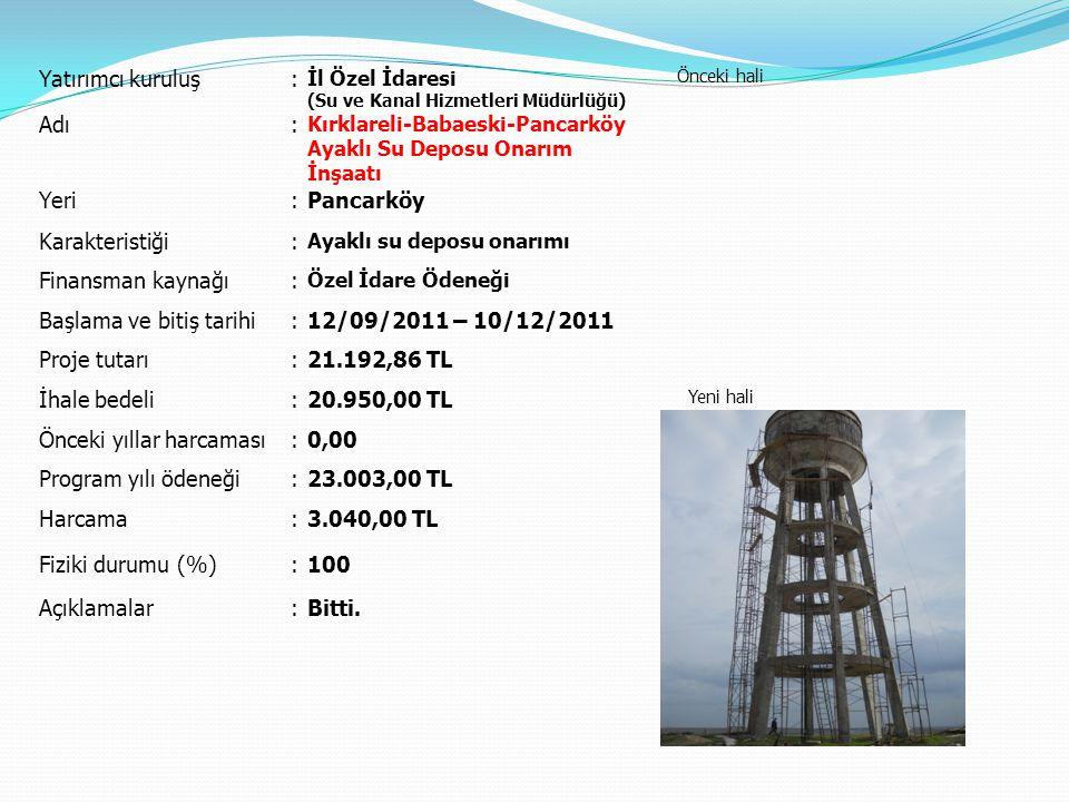 Başlama ve bitiş tarihi 12/09/2011 – 10/12/2011 Proje tutarı