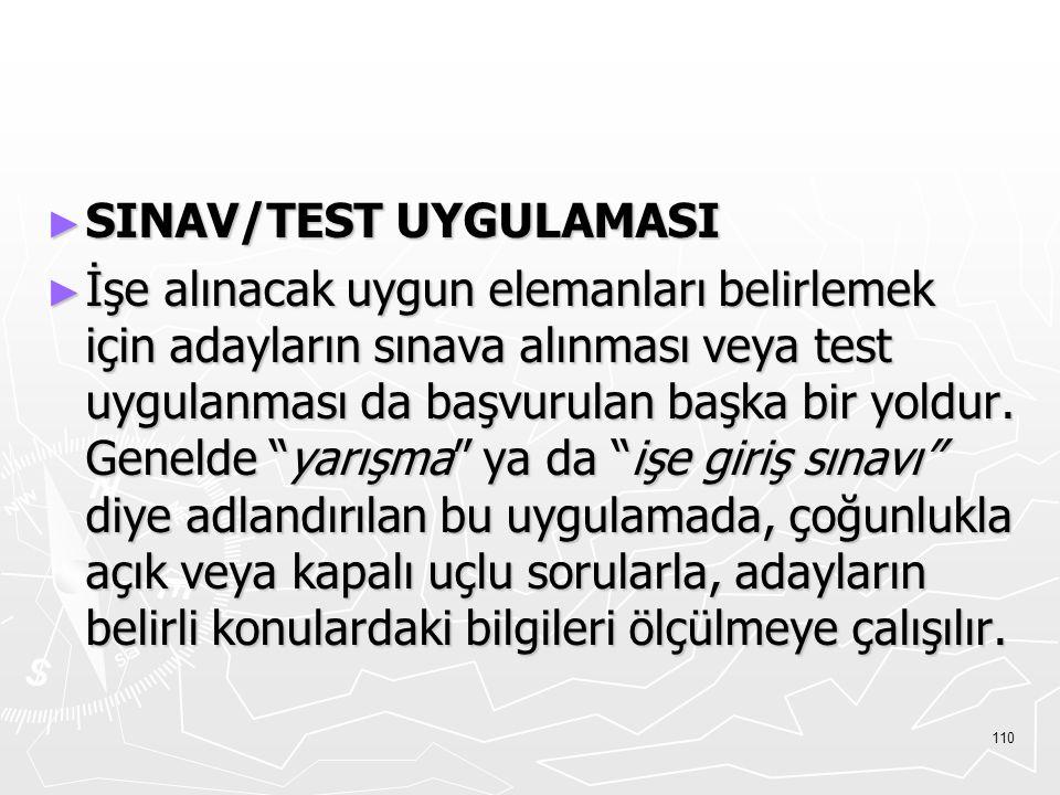 SINAV/TEST UYGULAMASI