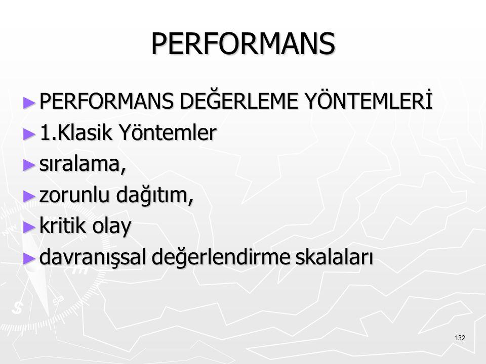 PERFORMANS PERFORMANS DEĞERLEME YÖNTEMLERİ 1.Klasik Yöntemler