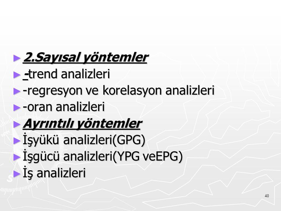 2.Sayısal yöntemler -trend analizleri. -regresyon ve korelasyon analizleri. -oran analizleri. Ayrıntılı yöntemler.