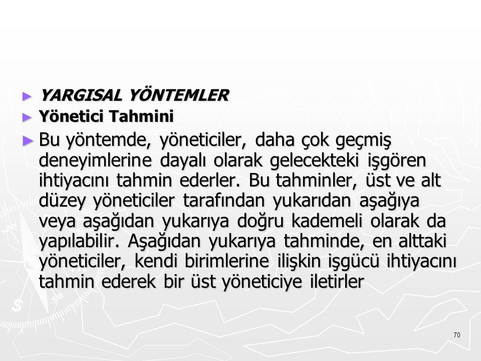 YARGISAL YÖNTEMLER Yönetici Tahmini.