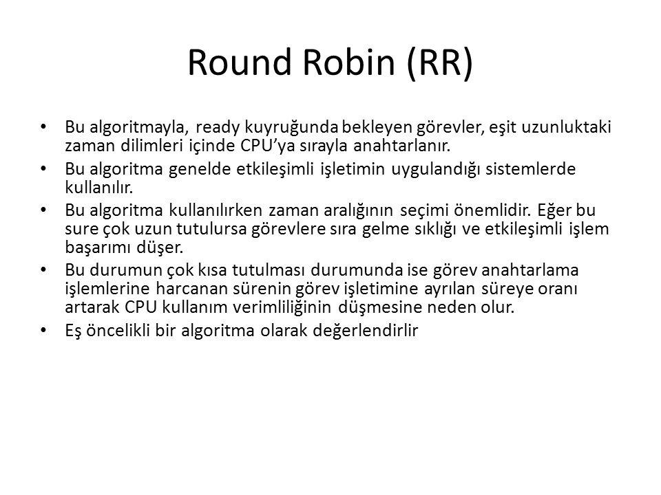Round Robin (RR) Bu algoritmayla, ready kuyruğunda bekleyen görevler, eşit uzunluktaki zaman dilimleri içinde CPU'ya sırayla anahtarlanır.